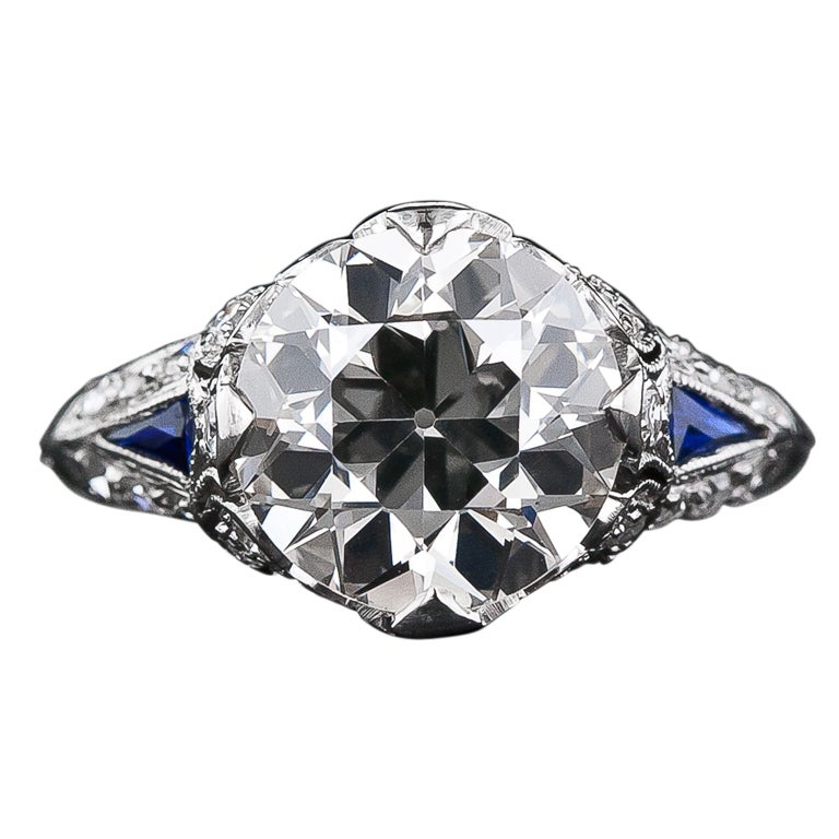 3 30 Carat Diamond and Sapphire Art Deco Engagement Ring at 1stdibs