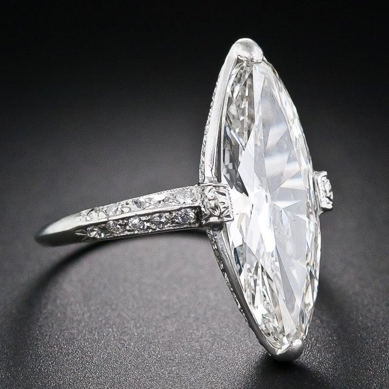 Exquisite Art Deco Cartier 3.98 Carat Marquise Diamond Ring 2