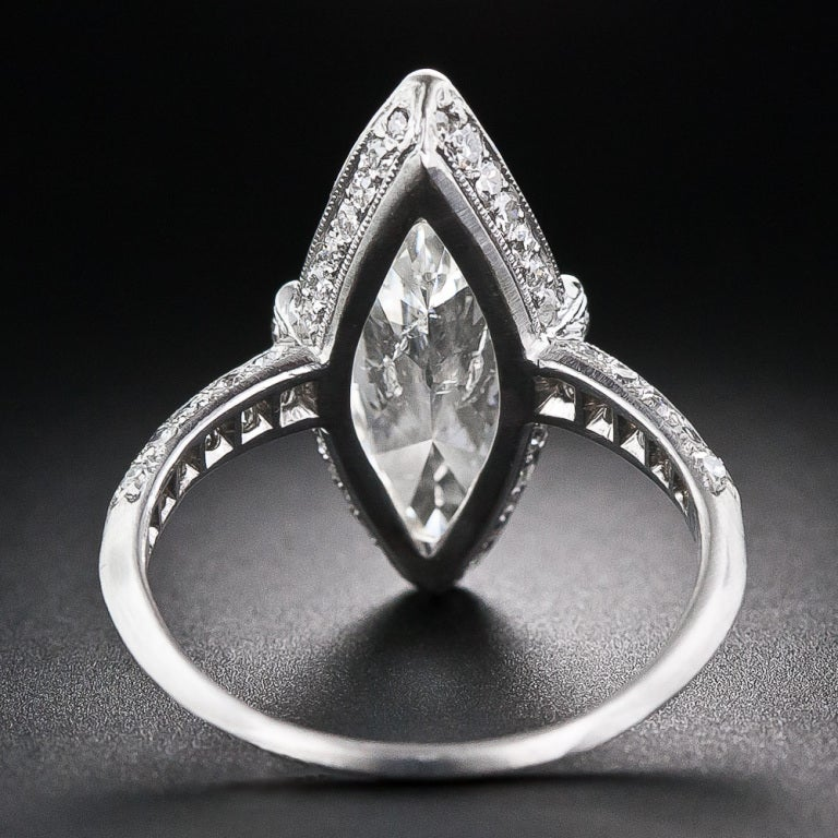 Exquisite Art Deco Cartier 3.98 Carat Marquise Diamond Ring image 4