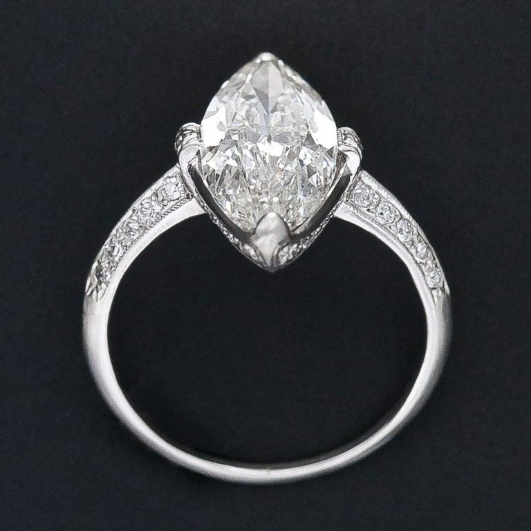 Exquisite Art Deco Cartier 3.98 Carat Marquise Diamond Ring For Sale 1