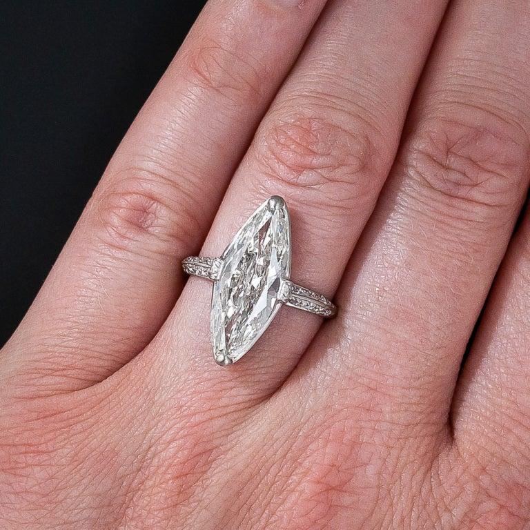 Exquisite Art Deco Cartier 3.98 Carat Marquise Diamond Ring For Sale 3