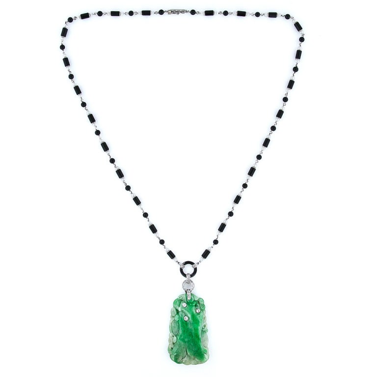 Art Deco Natural Jade Diamond Onyx and Pearl Necklace 2