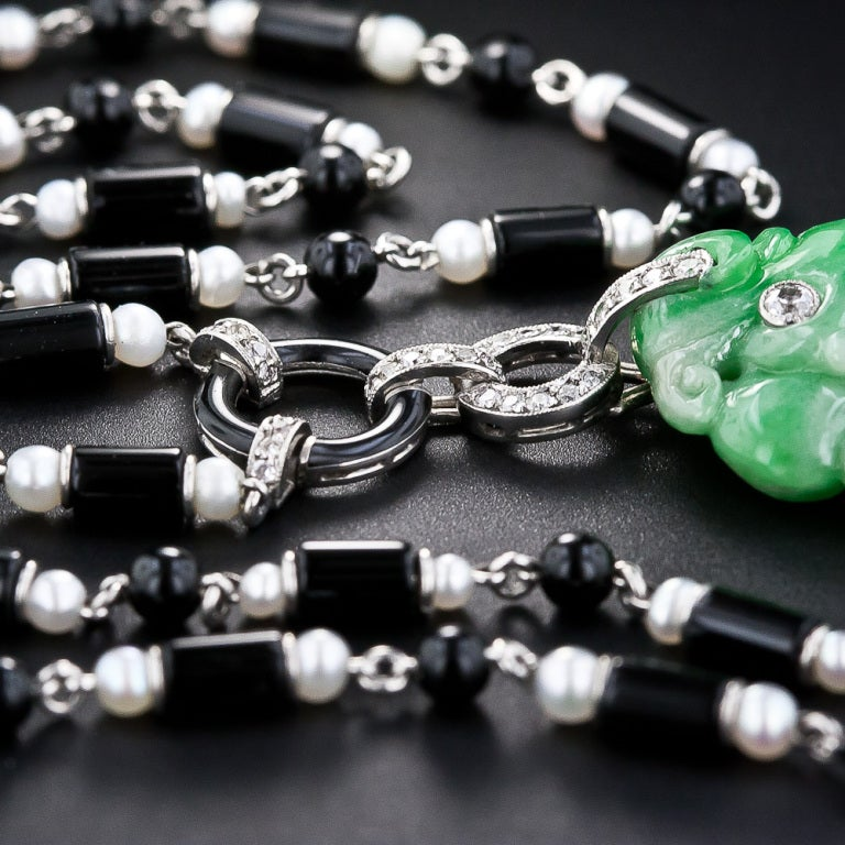 Art Deco Natural Jade Diamond Onyx and Pearl Necklace 5