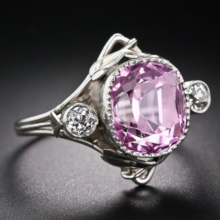 7 40 carat arts and crafts pink sapphire ring in platinum