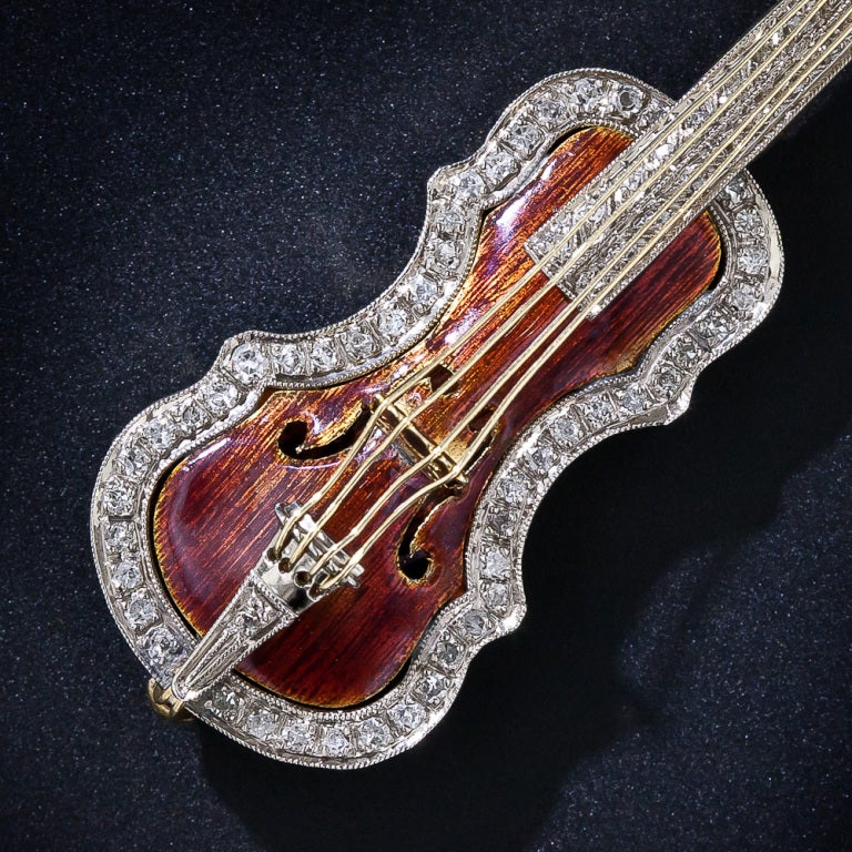 Enamel And Diamond Violin And Bow Brooch At 1stdibs