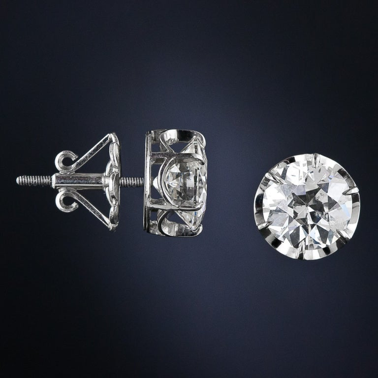 4.83 Carat Antique Diamond Stud Earrings 2