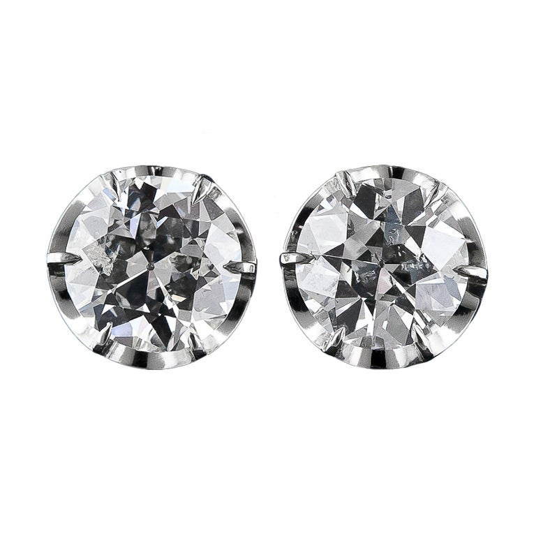 4.83 Carat Antique Diamond Stud Earrings 1