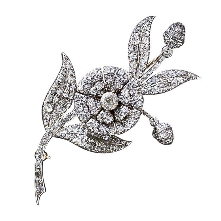 Georgian 'En Tremblant' Diamond Flower Brooch