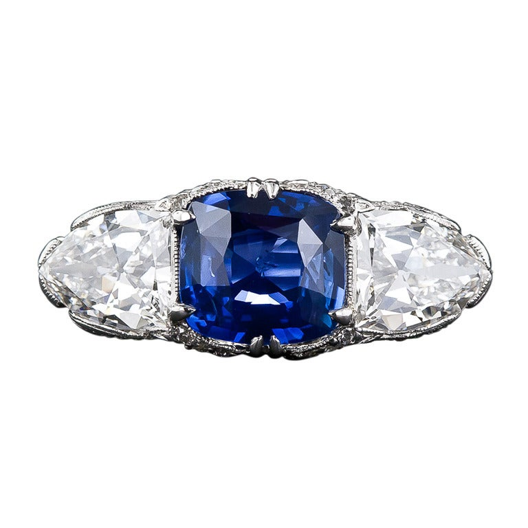 Magnificent 4 10 Carat Sapphire and Diamond Early Art Deco Ring at 1stdibs