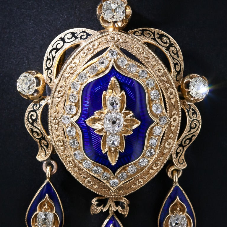 Victorian Diamond and Enamel Pendant/Brooch 2
