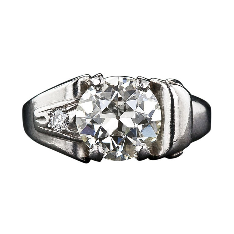 2.25 Carat Retro Diamond and Palladium Ring 1