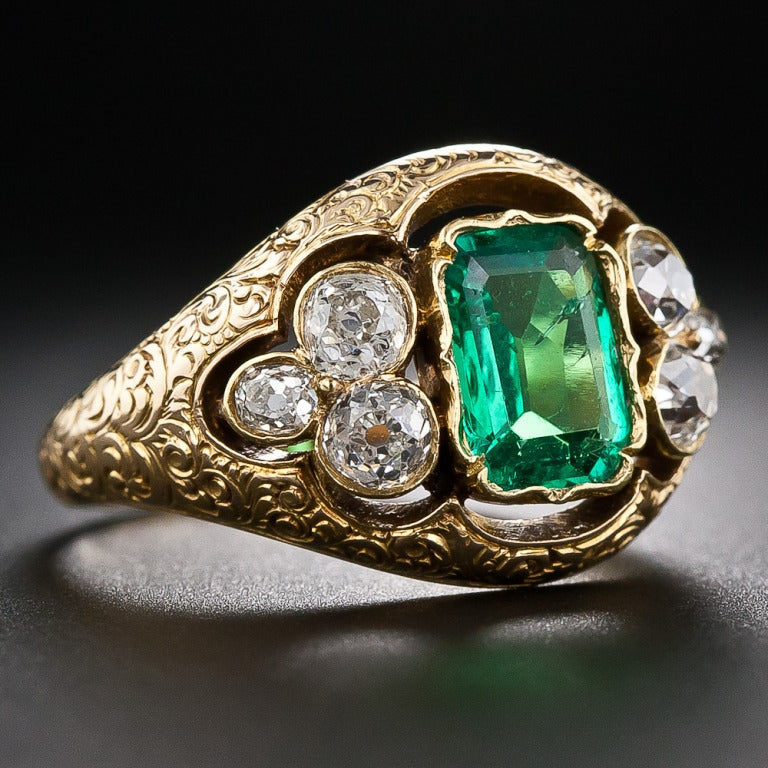 antique emerald and mine cut ring at 1stdibs