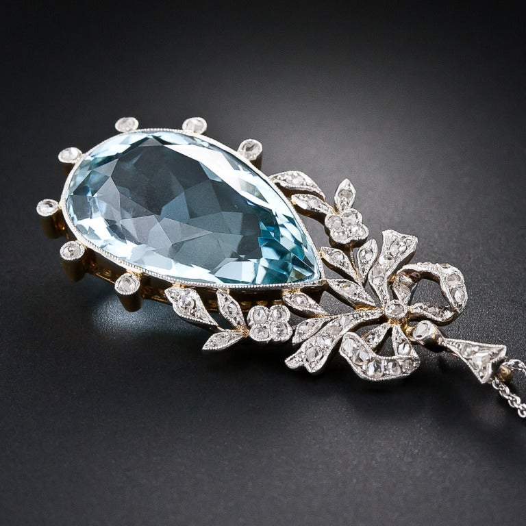 Women's Edwardian Aquamarine and Diamond Bow Pendant For Sale