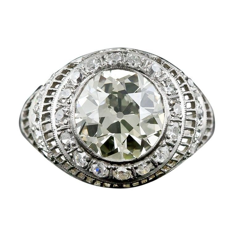 3 00 Carat Edwardian Diamond and Platinum Ring at 1stdibs