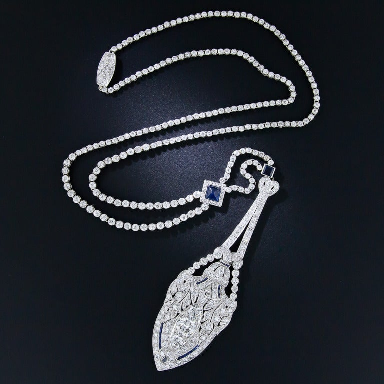 Art Deco Diamond and Sapphire Platinum Lavaliere Necklace 3