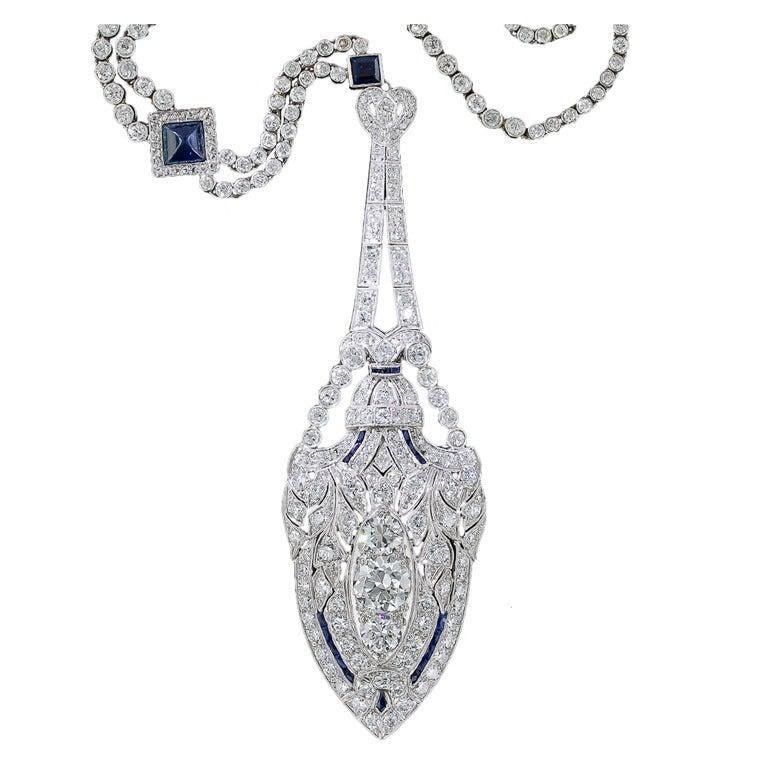 Art Deco Diamond and Sapphire Platinum Lavaliere Necklace 1