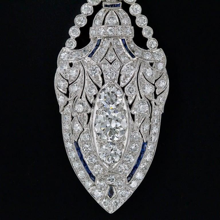 Art Deco Diamond and Sapphire Platinum Lavaliere Necklace 5