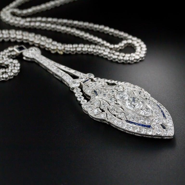Art Deco Diamond and Sapphire Platinum Lavaliere Necklace 6