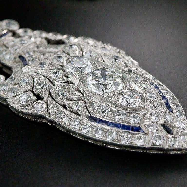 Art Deco Diamond and Sapphire Platinum Lavaliere Necklace 7