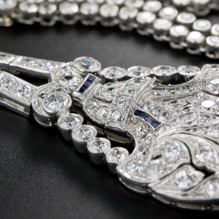 Art Deco Diamond and Sapphire Platinum Lavaliere Necklace 8