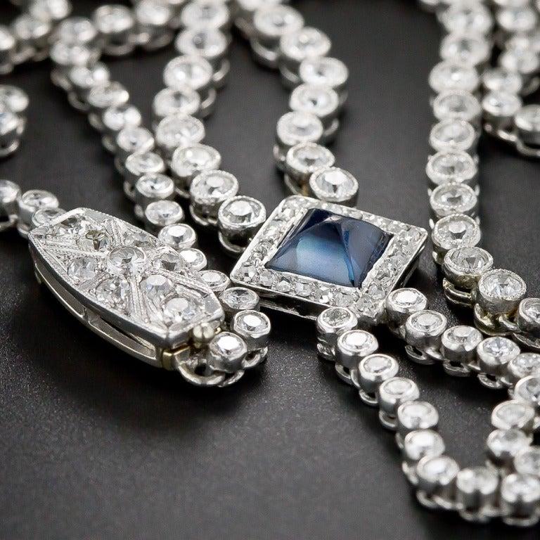 Art Deco Diamond and Sapphire Platinum Lavaliere Necklace 9