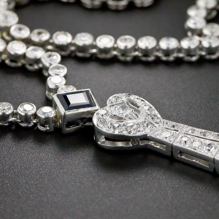 Art Deco Diamond and Sapphire Platinum Lavaliere Necklace 10