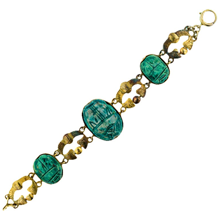 Egyptian revival turquoise faience scarab gold bracelet at for Faience turquoise
