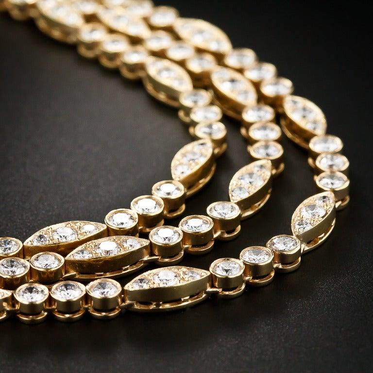 Contemporary Oscar Heyman Triple-Strand 22 Carat Diamond Necklace For Sale