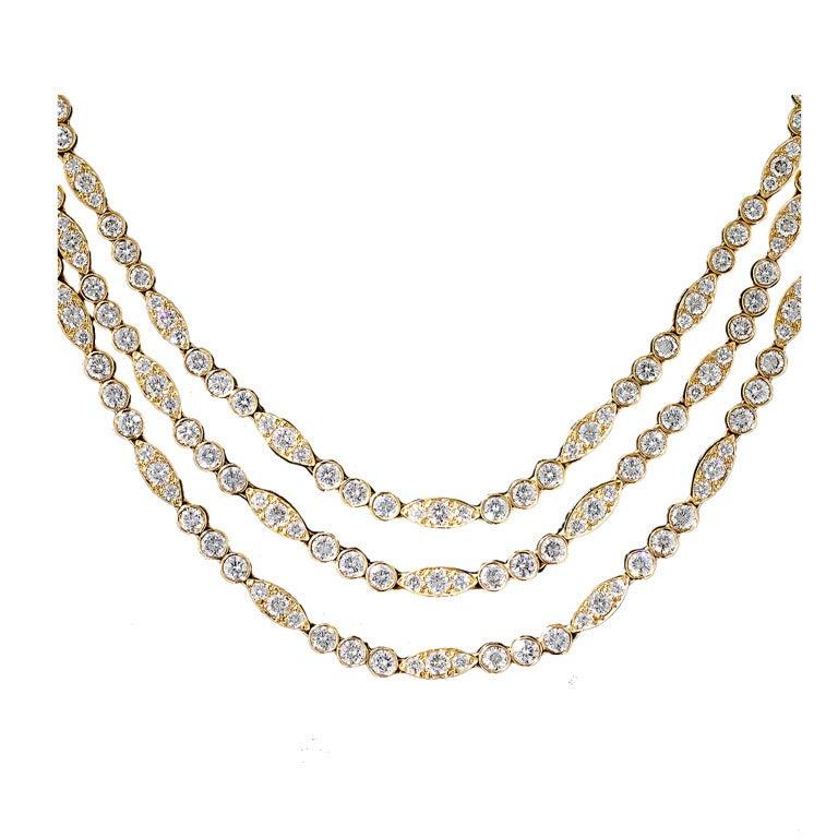 Oscar Heyman Triple-Strand 22 Carat Diamond Necklace For Sale