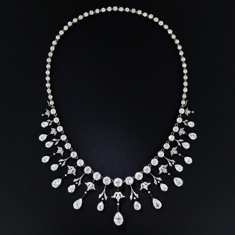 Extraordinary Edwardian Diamond Fringe Necklace 2