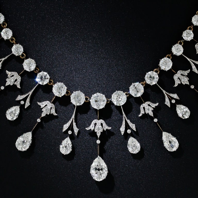 Extraordinary Edwardian Diamond Fringe Necklace In Excellent Condition For Sale In San Francisco, CA