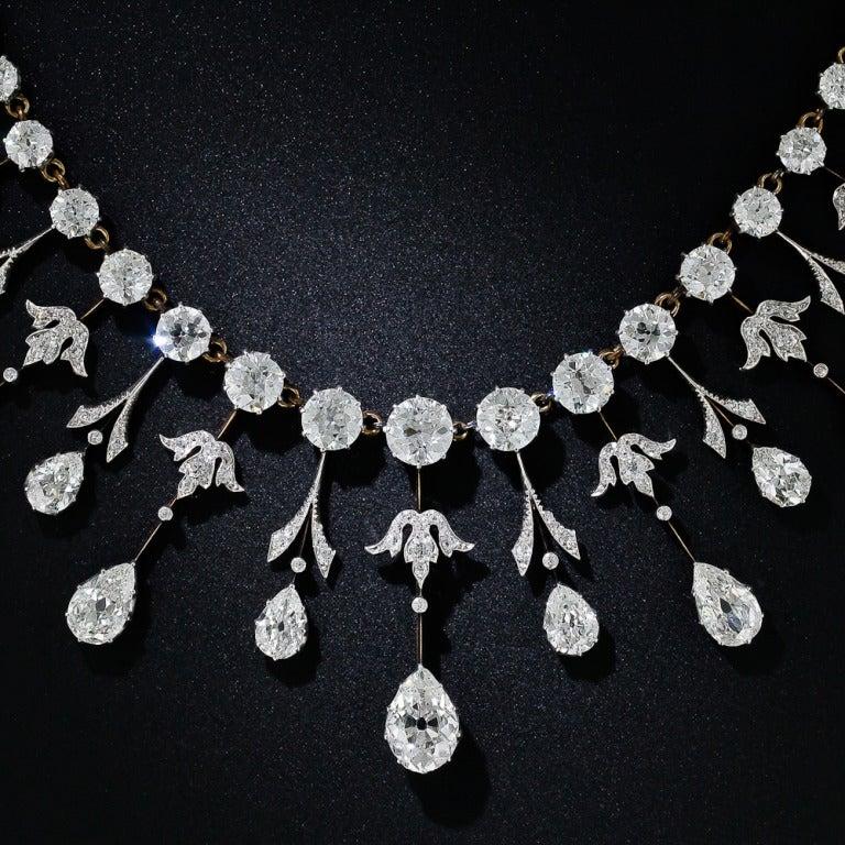 Extraordinary Edwardian Diamond Fringe Necklace 3