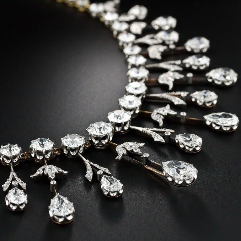 Extraordinary Edwardian Diamond Fringe Necklace For Sale 1