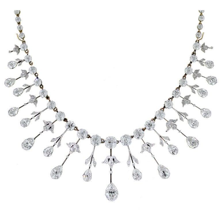 Extraordinary Edwardian Diamond Fringe Necklace For Sale