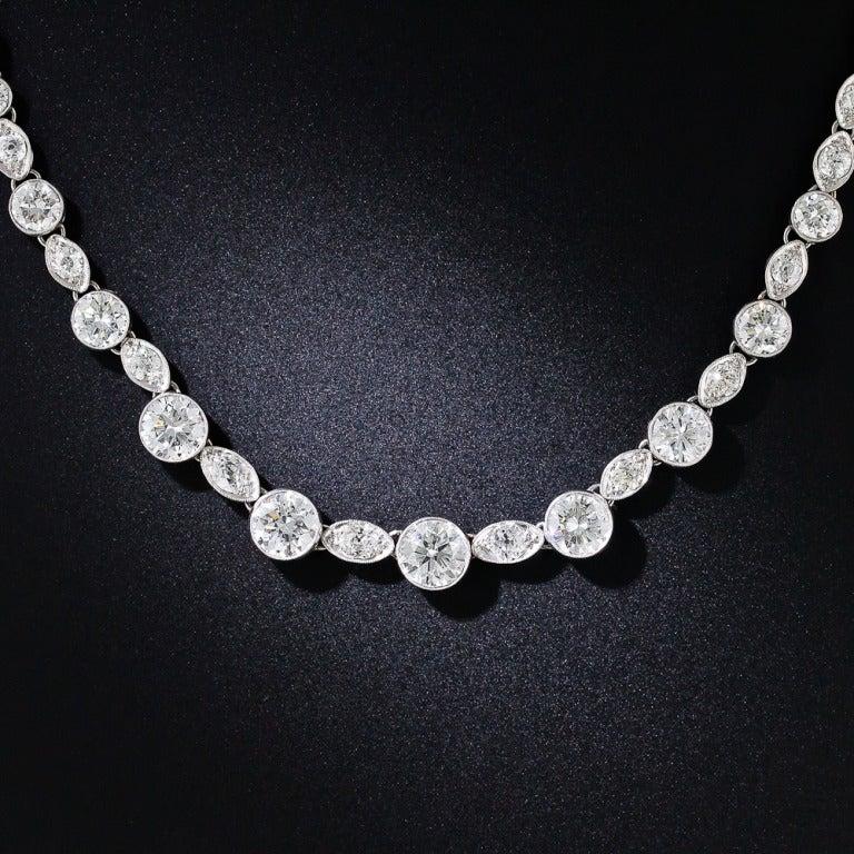 Original Art Deco 12.75 Carat Diamond Riviere Necklace 2
