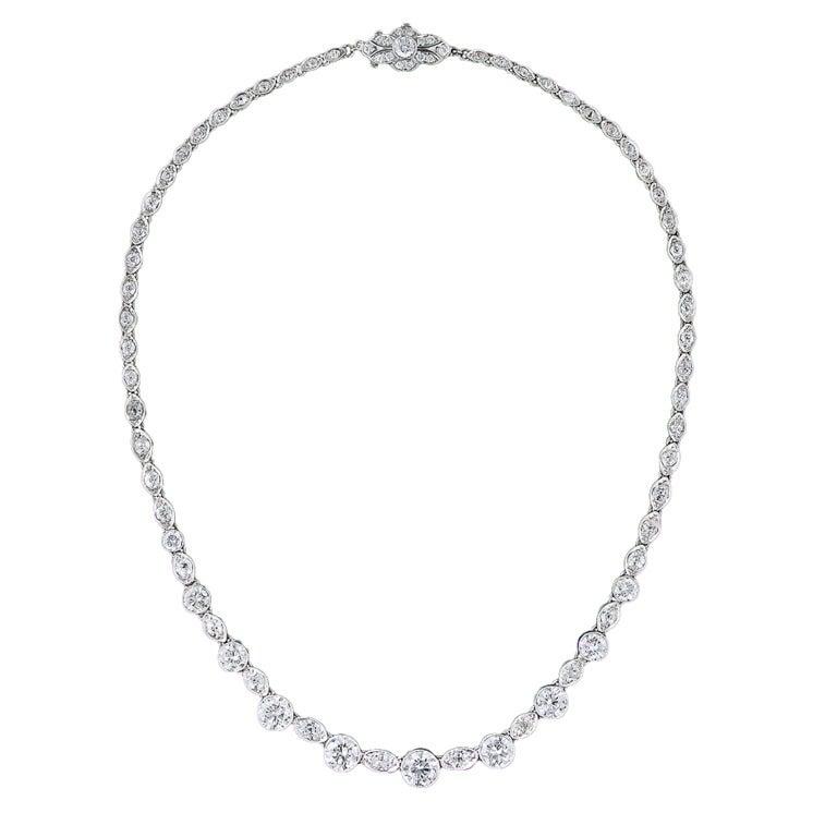 Original Art Deco 12.75 Carat Diamond Riviere Necklace 1