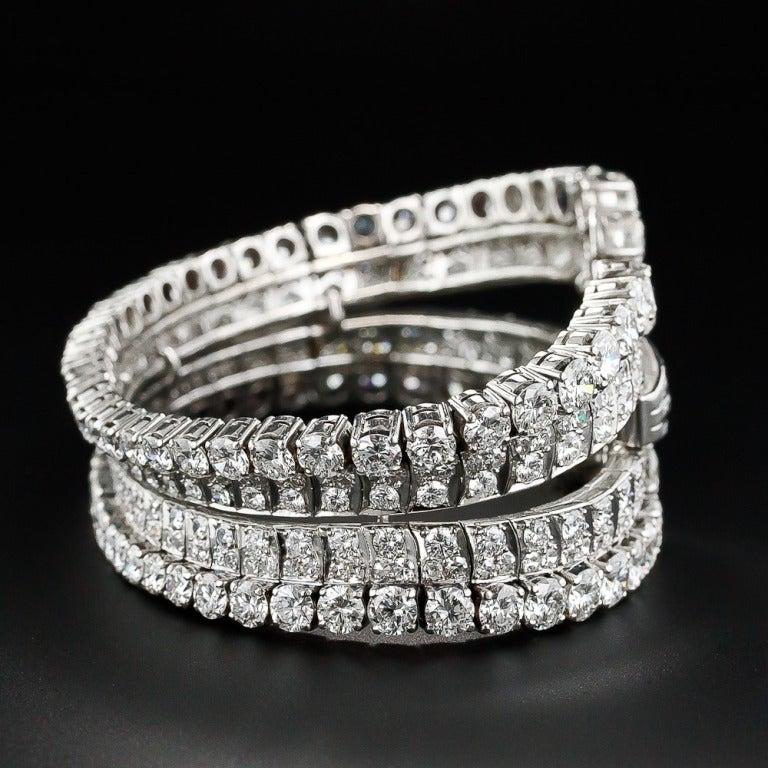 28 Carat Diamond Platinum Mid Century Cuff Bracelet by Eliakim Le Caire In Excellent Condition For Sale In San Francisco, CA