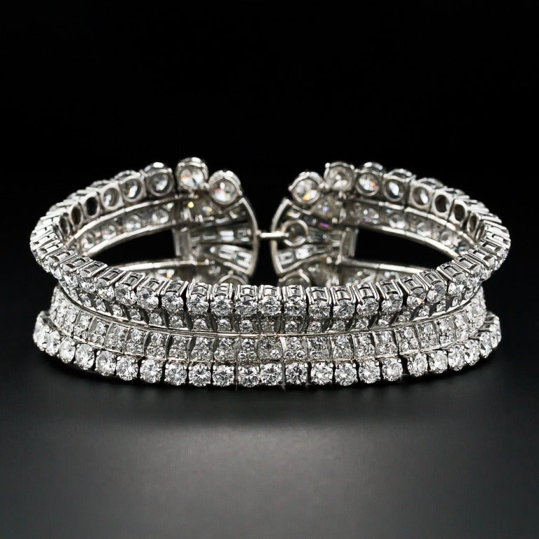 Women's or Men's 28 Carat Diamond Platinum Mid Century Cuff Bracelet by Eliakim Le Caire For Sale