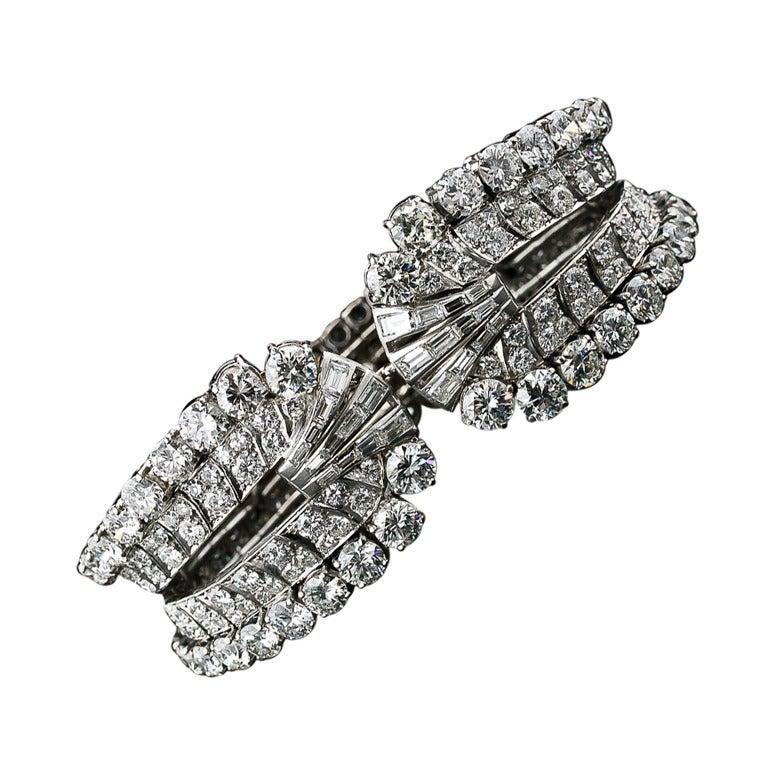 28 Carat Diamond Platinum Mid Century Cuff Bracelet by Eliakim Le Caire For Sale