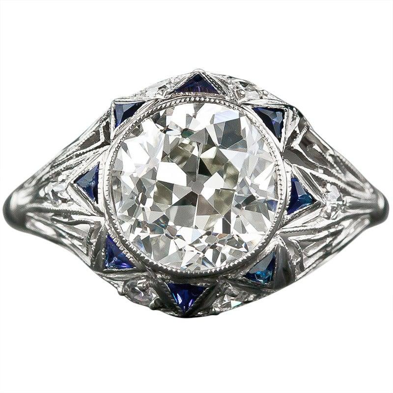 Calibre Sapphire Diamond Art Deco Ring