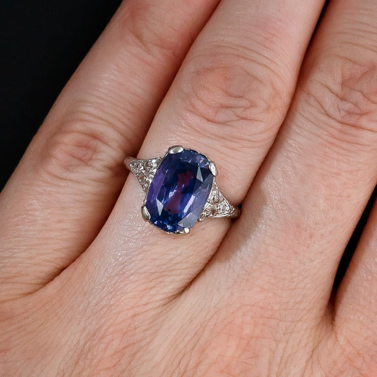 Natural Unheated Violet Sapphire Ring At 1stdibs. Exquisite Engagement Rings. Different Color Rings. 16 Carat Engagement Rings. Poison Rings. Joker Harley Wedding Rings. Christmas Rings. Solid Silver Rings. Crossover Engagement Rings