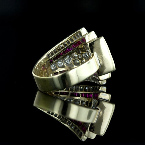 deco retro platinum and ruby ring at 1stdibs
