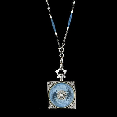 Exemplary Enamel Pendant Watch Necklace by Gubelin image 2