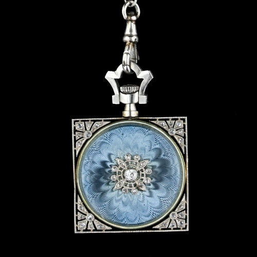 Exemplary Enamel Pendant Watch Necklace by Gubelin image 4