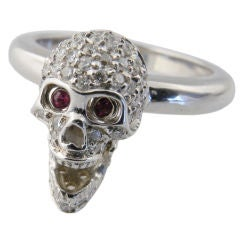 White Gold, Diamond and Ruby Skull Ring, Deakin & Francis