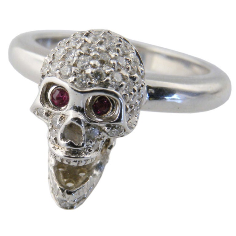 White Gold, Diamond and Ruby Skull Ring, Deakin & Francis 1