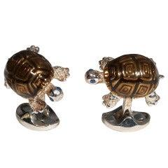 Sterling Silver and Enamel Turtle Cufflinks by DEAKIN & FRANCIS