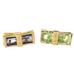Gold Hand-Painted Dollar Bill Cufflinks by DEAKIN & FRANCIS