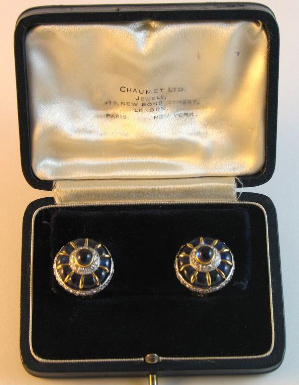 CHAUMET Pair of Cabochon Sapphire and Diamond Earclips 1960 2