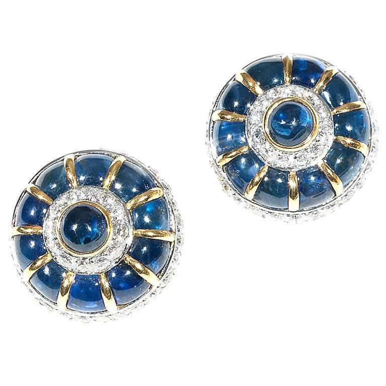 CHAUMET Pair of Cabochon Sapphire and Diamond Earclips 1960 1